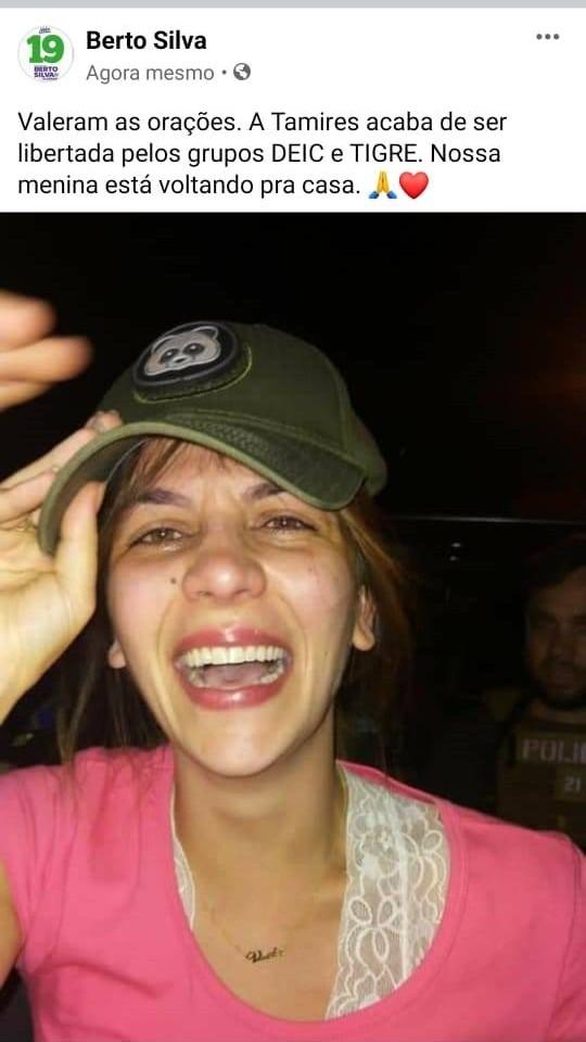 Tamires é libertada ilesa e recebida por familiares na noite desta quarta-feira