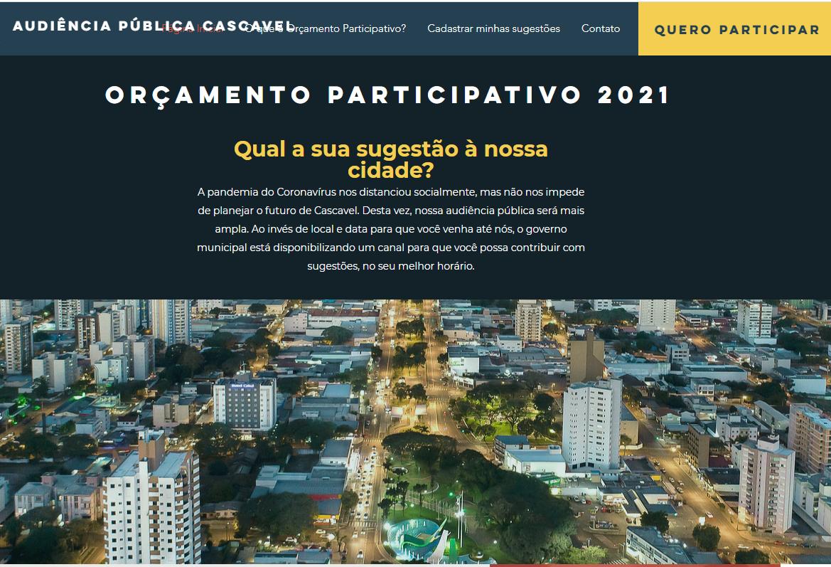 Prefeitura convoca população a participar das decisões sobre o orçamento de 2021