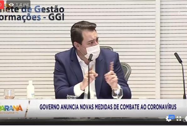 Governo do Paraná estabelece fechamento do comércio, nos próximos 14 dias, em Cascavel e outras cidades