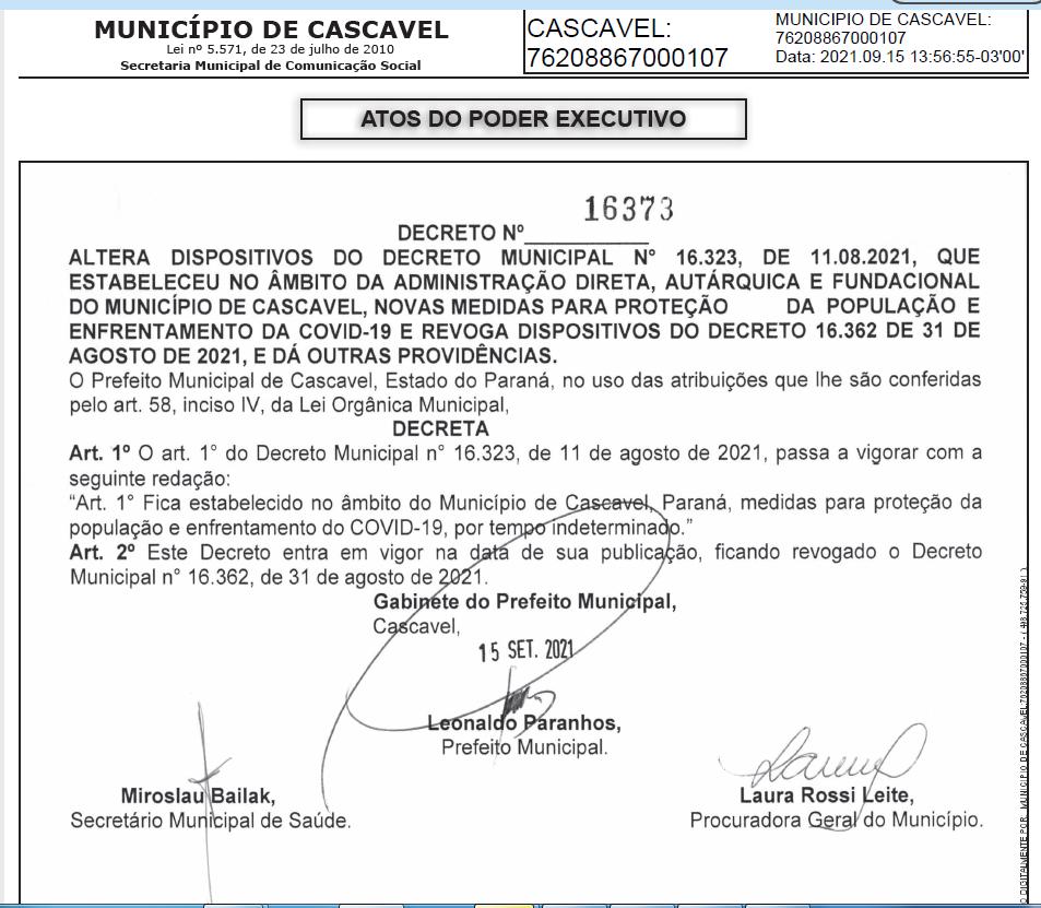 Cascavel renova Decreto que estabelece medidas de combate à Covid-19