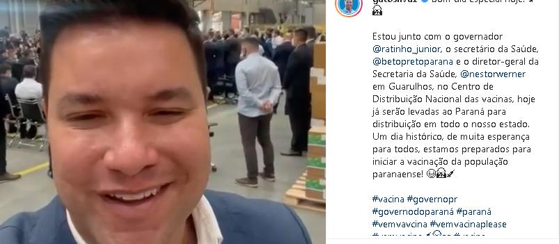 Governador do Paraná vai a Guarulhos buscar vacinas contra Covid-19