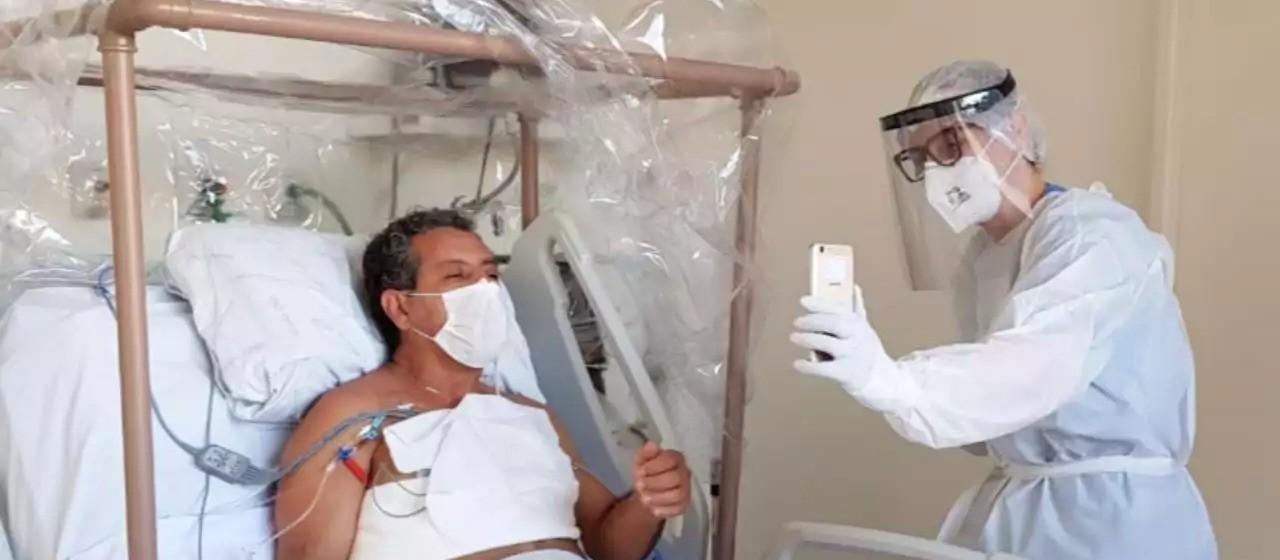 Visitas virtuais acolhem famílias e ajudam na recuperação de pacientes no Huop
