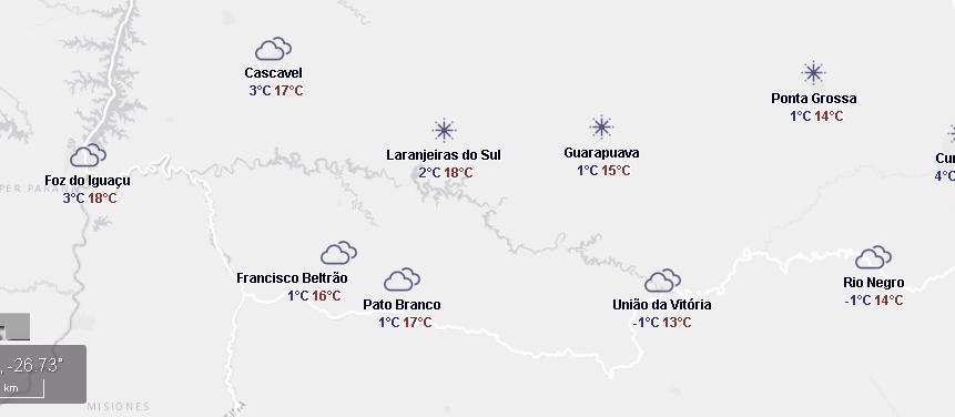 Terça-feira com geada em algumas cidades do Paraná