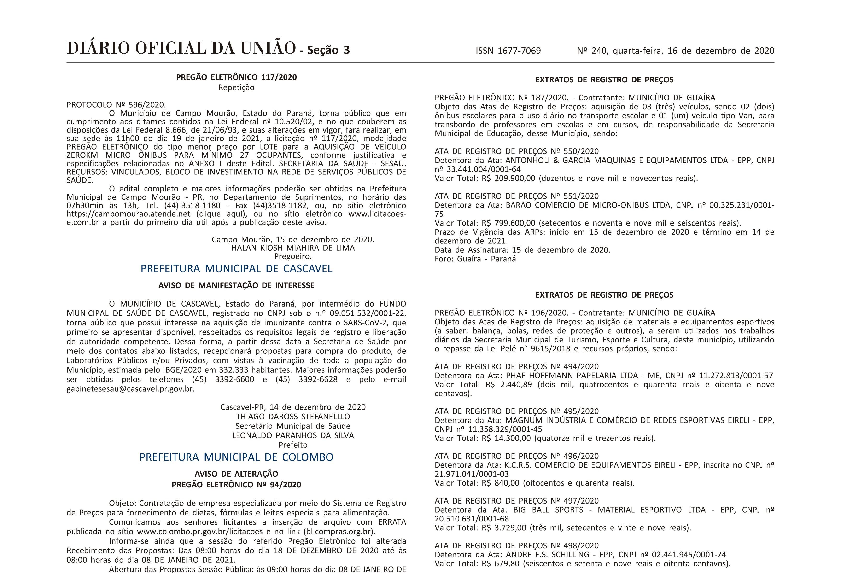 Cascavel registra interesse na aquisição de vacina contra a Covid-19