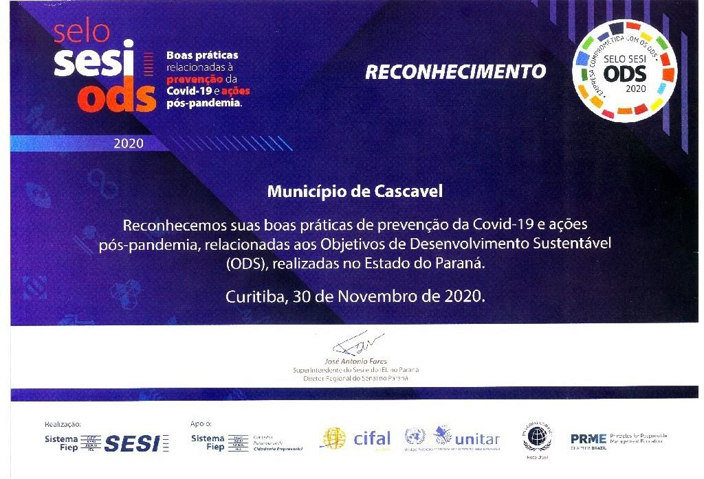 """Cascavel é reconhecida pelas """"Boas Práticas"""" nas ações preventivas contra a Covid-19"""