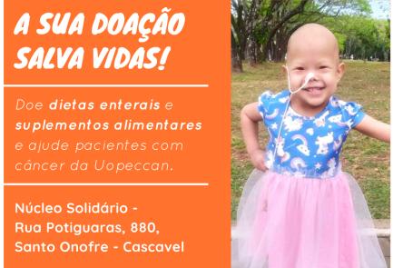 Uopeccan precisa com urgência de doação de dieta enteral e suplementos alimentares
