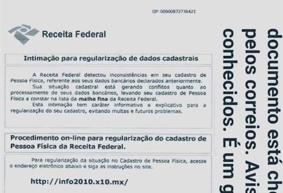 Golpe usa carta falsa da Receita Federal