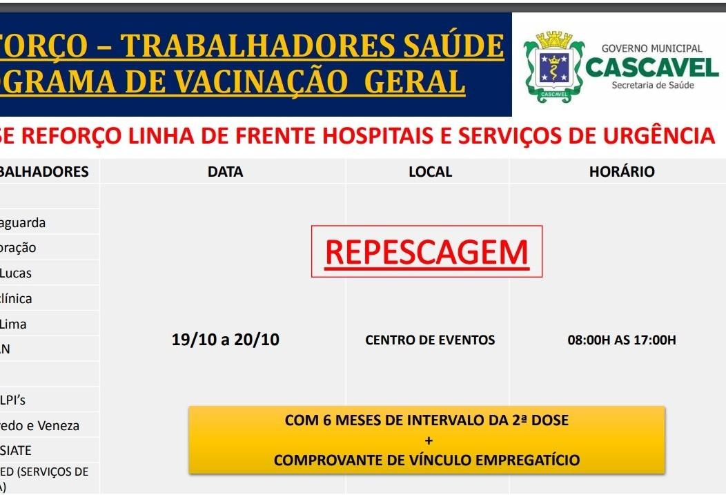 Terça-feira terá repescagem da dose de reforço para profissionais de saúde