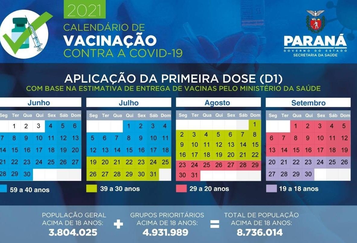 Governo do Estado divulga calendário de vacinação contra a Covid-19 para população em geral